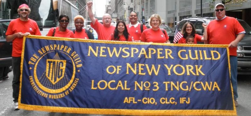 Guild members in 2011 waiting to join New York City Labor Day parade up Fifth Avenue.